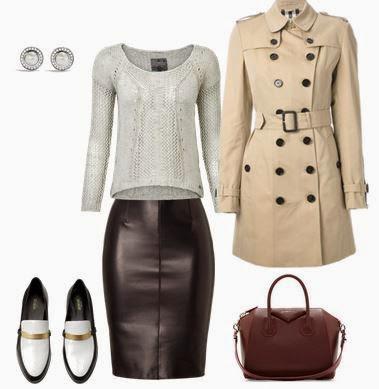 Saia pencil em pele, camisola malha cinza, trench coat bege, mala bordeaux, sapatos rasos preto e branco
