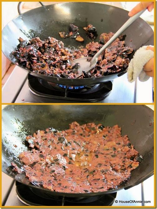 smashing the dabai into paste
