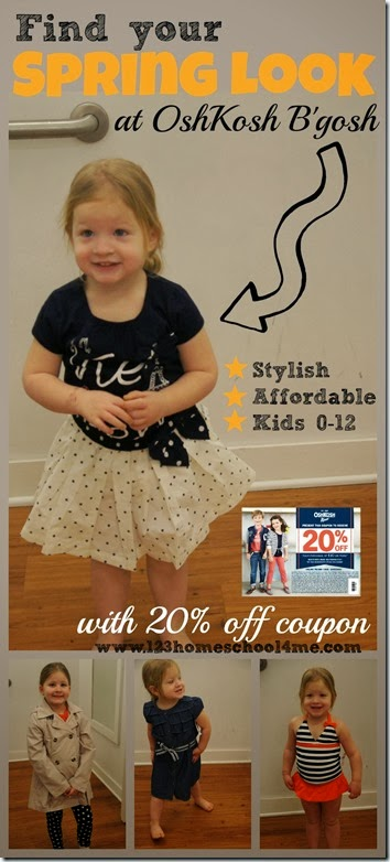 OshKosh B'gosh has cute, affordable clothes for kids 0-12 years old PLUS 20% off coupon