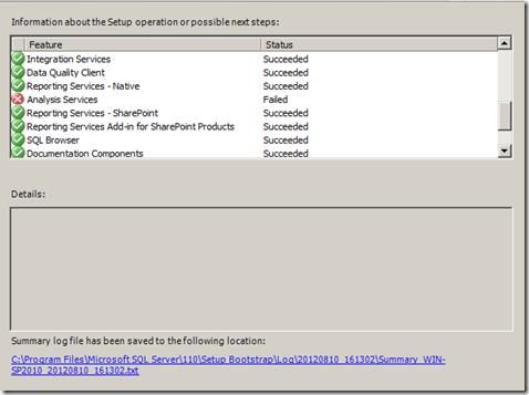SQL Server 2012–Analysis Service Does not Start After Setup