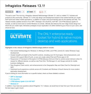 Infragistics Releases 13 1 with new set of Windows Metro/Modern/UI