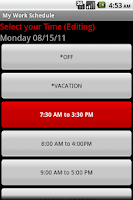 Screenshot of My Work Schedule