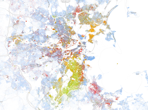 Racial Dot Map of Boston Area