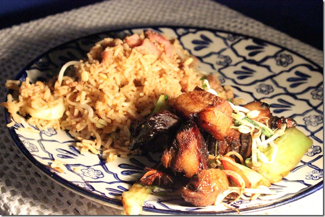 Triple cooked pork with bacon fried rice