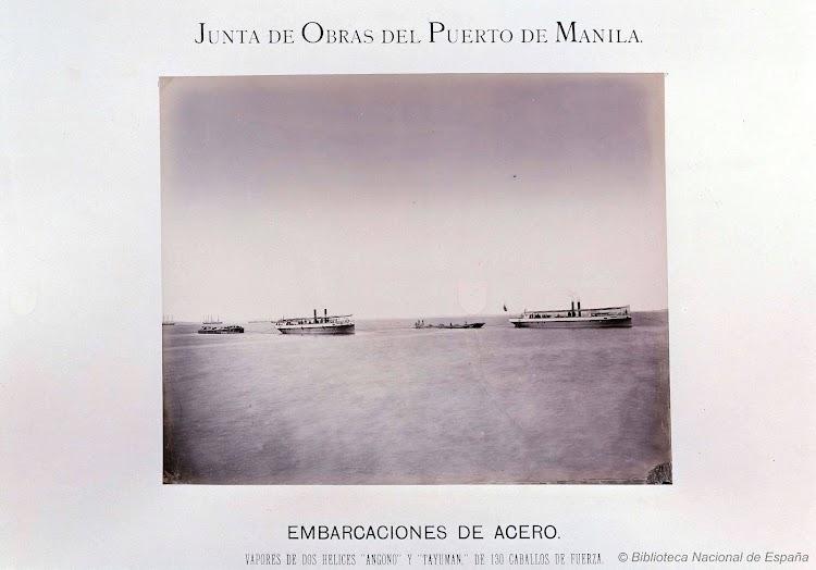Remolcadores ANGONO y TAYUMAN. Foto del libro Exposicion de Filipinas 1887. Obras del Puerto de Manila. Biblioteca Nacional de España.jpg