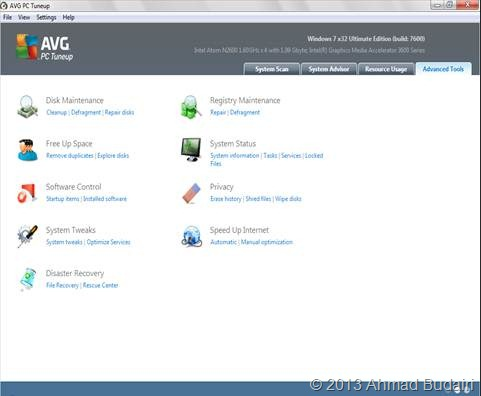 Tampilan menu pada Advanced Tool AVG PC Tuneup