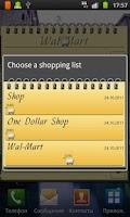Screenshot of Shopping List Widget