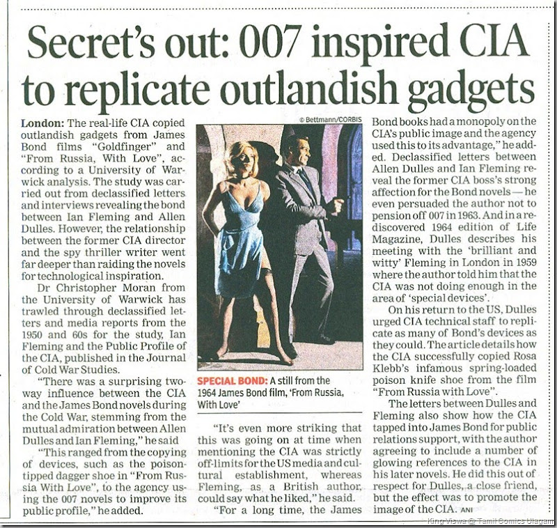 Times Of India Chennai Edition Sunday 21st July 2013 Page No 15 James Bonds Effect on CIA