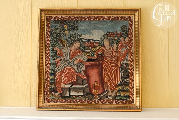 woman at the well vintage needlepoint tapestry