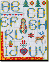 Alfabeto punto de cruz letras azules