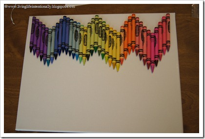 super glue crayons on canvas