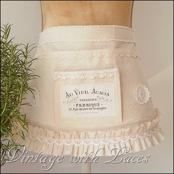 Garden Apron with Lace and Vintage French Image
