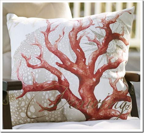 Coral Decoupage pillow