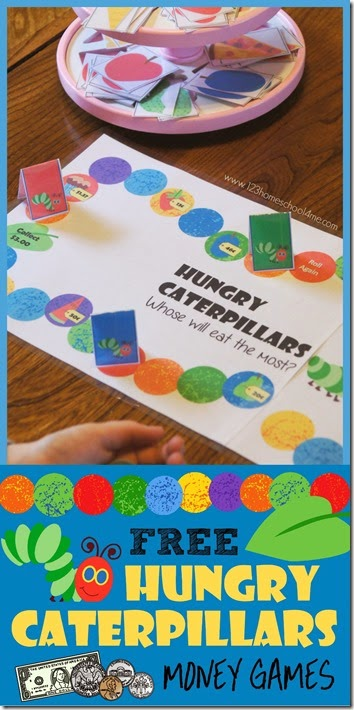 Hungry Caterpillars Money Games - free printable game for preschool kindergarten 1st grade 2nd grade 3rd grade