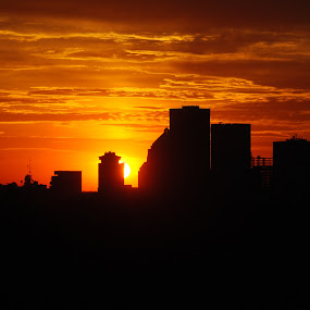 City at subset  by Heather Donahue - Landscapes Sunsets & Sunrises