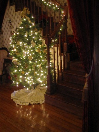 stairway and Christmas tree