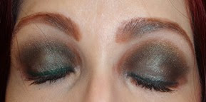 eyes with Laura Mercier Tempting Green eye shadow and Envy Creme Eyeliner_closed