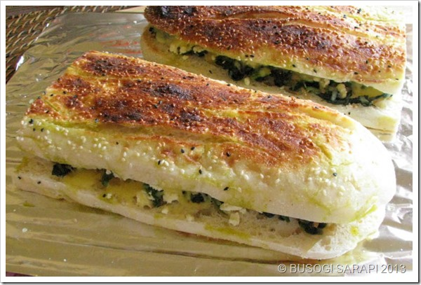 TOASTED TURKISH BREAD WITH SPINACH, FETA & MELTED CHEESE STEP21© BUSOG! SARAP! 2013
