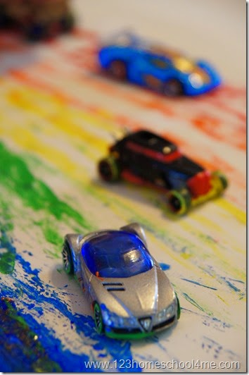 Playing with cars and paint for toddler, preschool, kindergarten