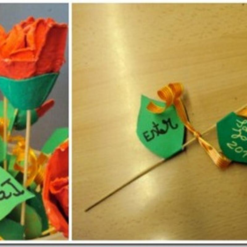 Hacer Rosas para Sant Jordi con hueveras