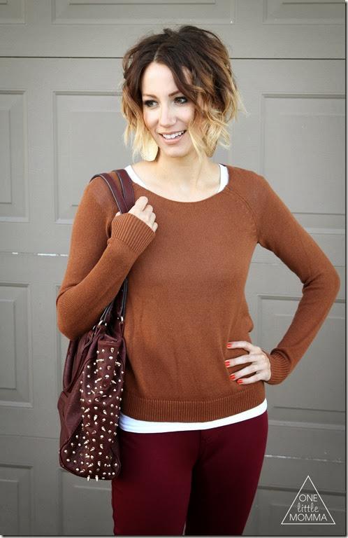 Ombre short hair, oxblood pants, orange sweater