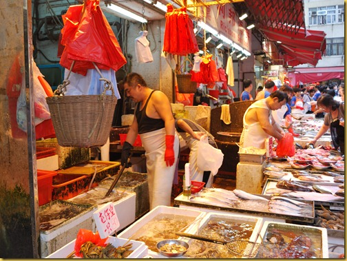 A colourful scene in a Hong Kong market