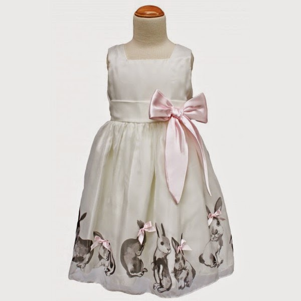Audrey White Dress with Bunnies
