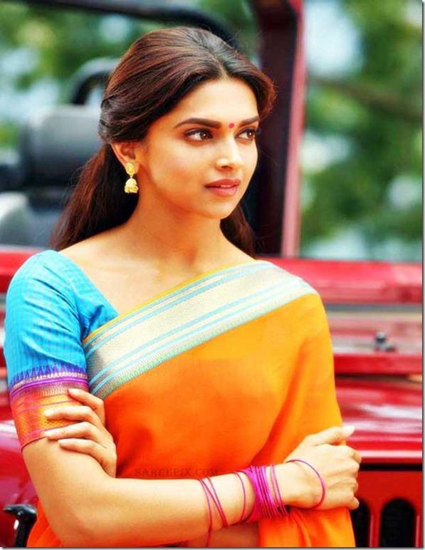 6 cute saree stills of Deepika Padukone in chennai expess ...