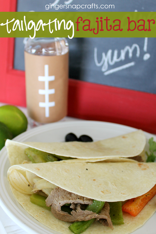 Tailgating Fajita Bar at GingerSnapCrafts.com #tailgating #football #recipes #beef