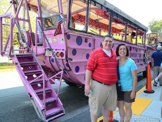 Brandon and Victoria in front of Dorchester Dottie, the Duck Boat (tour)