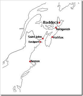 Map of Charles Dudley Warner's journey to Baddeck
