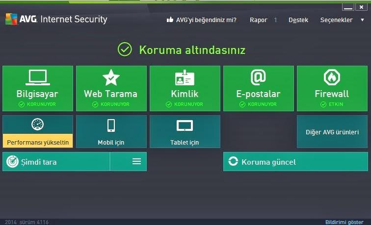 AVG Internet Security 2015 Türkçe
