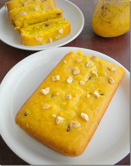Eggless Mango Bread Loaf Cake