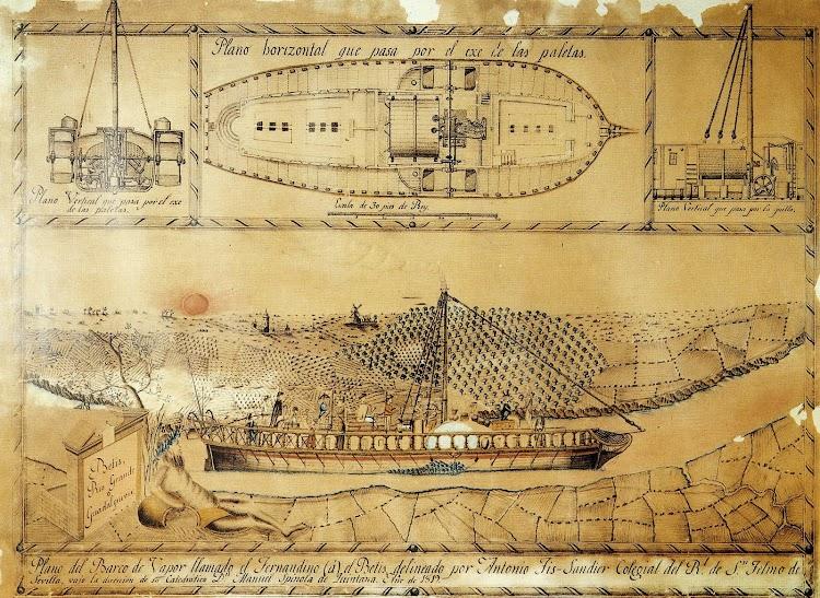 Plano del vapor REAL FERNANDO según un dibujo de Antonio Fiz Sandier. Aaño 1.819. Del libro HISTORIA GRAFICA DEL PUERTO DE SEVILLA.JPG
