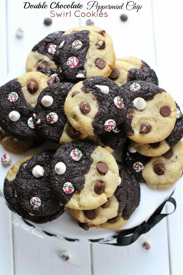 Double Chocolate Peppermint Chip Swirl Cookies #fbcookieswap from @LifeMadeSweeter.jpg