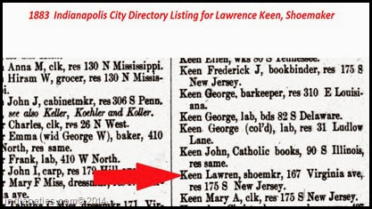 Lawrence Keen - 1883 Indpls City Directory - Shoemaker