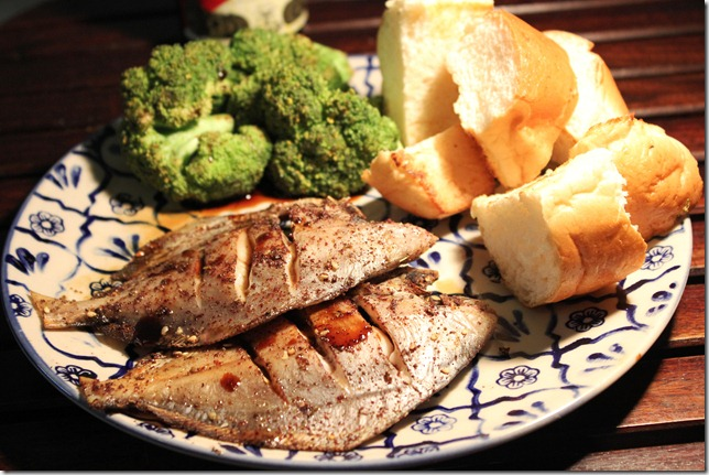 grilled pomfret with balamic vinegar