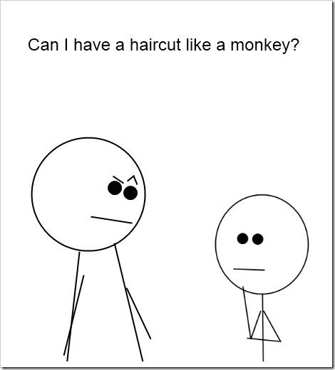 monkey haircut