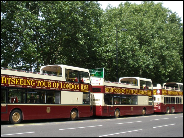 Three London tour buses in a row