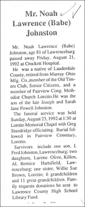 Johnston Lawrence N Obit