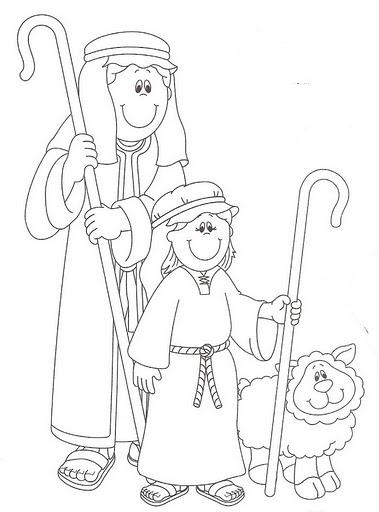 ebc76393176 Portal de belen para colorear recortar jpg 379x512 Dibujos pastor navidad