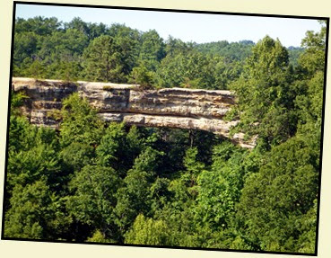 17e - Laurel Ridge Trail - View of Natural Bridge from Lookout Point - Zoomed In