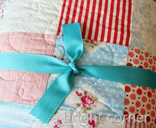 quilt with ribbon