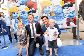 LOS ANGELES, CA - July 28, 2013:  Neil Patrick and family at the Los Angeles Premiere of Columbia Pictures and Sony Pictures Animation's SMURFS 2 at the Westwood Village Theatre.