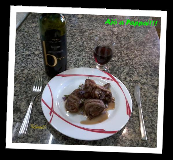 Immagine del set fotografico del piatto del Coniglio al cannonau ed erbette fresche con la collaborazione
