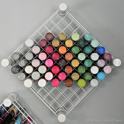 DIY wire and pvc paint storage racks