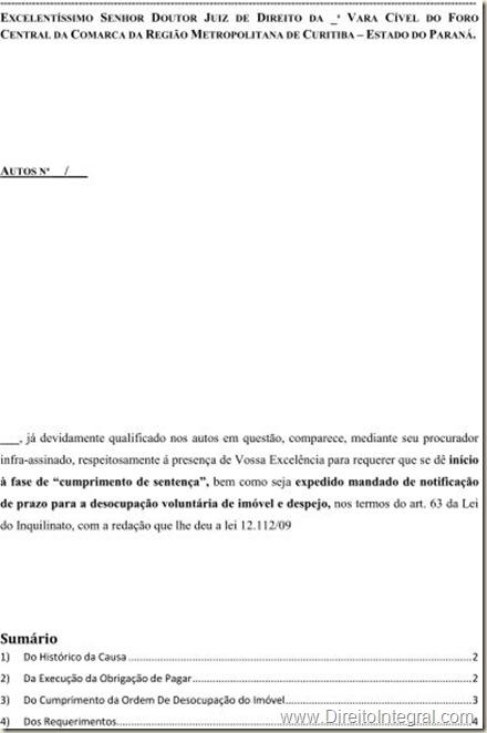 Modelo De Petição De Cumprimento De Sentença Art 475 J