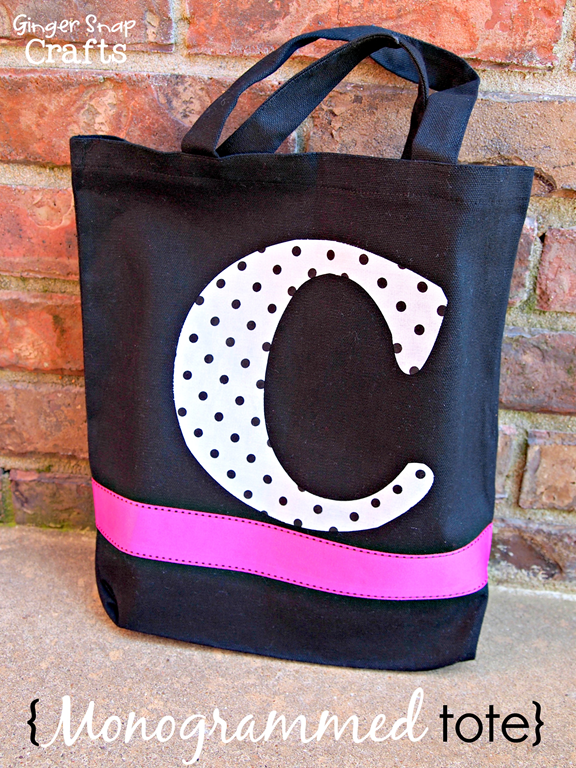 Ginger Snap Crafts: Monogrammed Tote with Silhouette Fabric