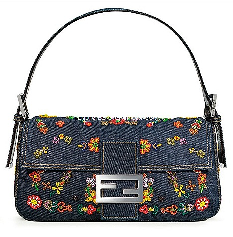"FENDI BAGUETTE JEANS Limited Re Editions by Silvia Venturini FENDI FALL WINTER 2012  2013 flagship store""I was in the garden playing with my children when Leonetta started picking daisies arranging them on my jeans"