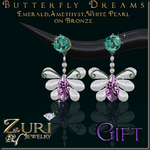 Butterfly Dreams Earrings WhPearl Amethyst Emerald Gift